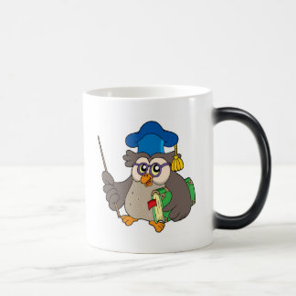 Owl teacher with book and pointer morphing mug