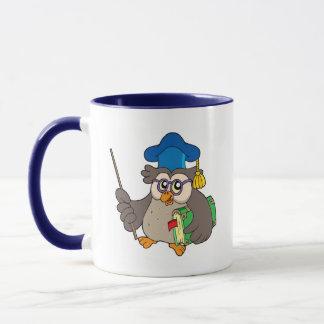 Owl teacher with book and pointer mug