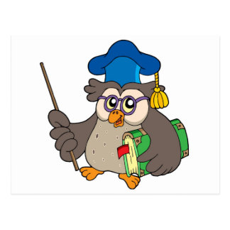 Owl teacher with book and pointer postcard