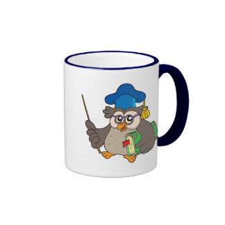 Owl teacher with book and pointer ringer mug