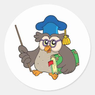 Owl teacher with book and pointer round sticker