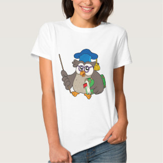Owl teacher with book and pointer tee shirts