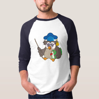Owl teacher with book and pointer tshirt
