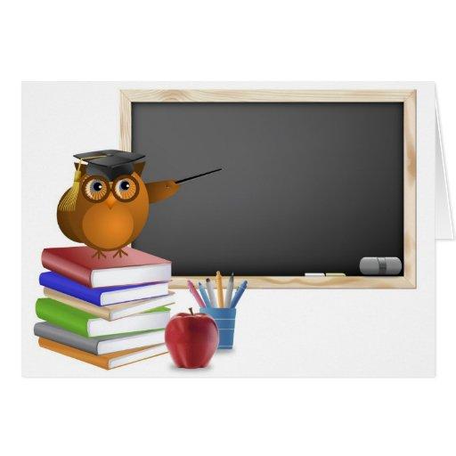 Owl teaching in Classroom Card