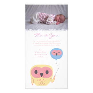 Owl Thank You Note Baby Girl Photo Card Template