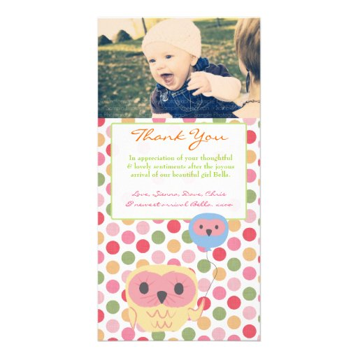 Owl Thank You Note Baby Girl Photo Template Photo Greeting Card