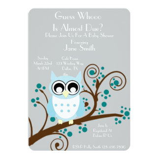 Owl Theme Baby Shower 5x7 Paper Invitation Card