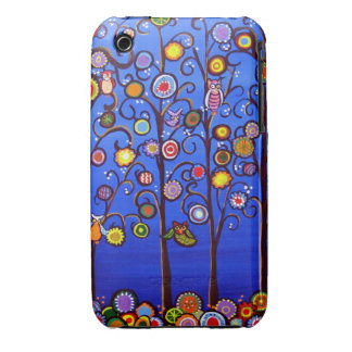 Owl Tree Party Fun Folk Art Case Mate Case iPhone 3 Cases