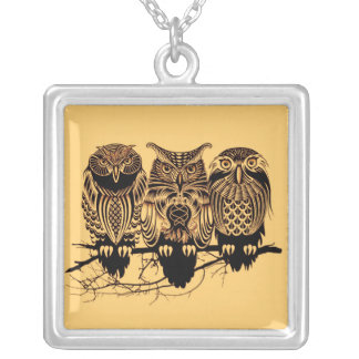 Owl Trio Square Necklace