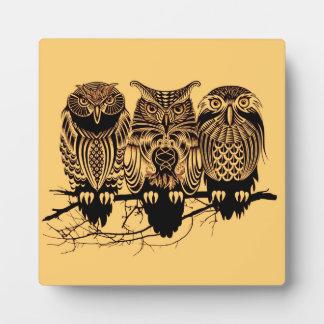 Owl Trio Tabletop Plaque
