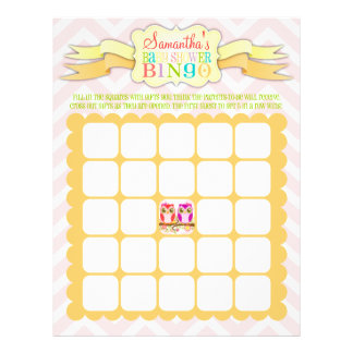 Owl Twins - Baby Shower Bingo & Name Scramble Full Color Flyer