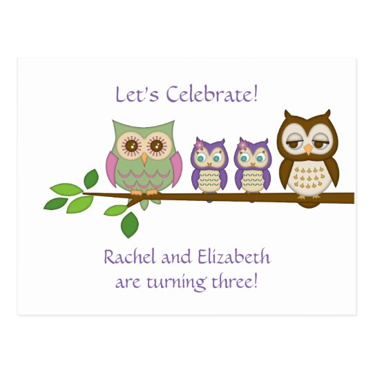 Owl Twins Birthday Party Invite Postcard