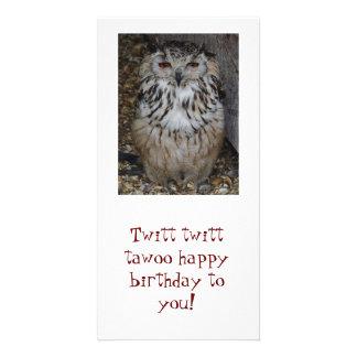 owl, Twitt twitt tawoo happy birthday to you! Customised Photo Card