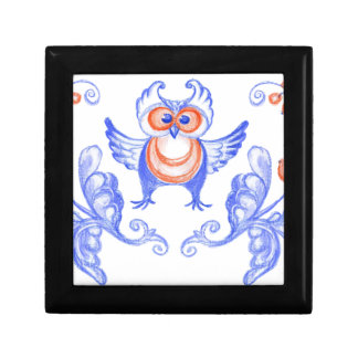 Owl Ukrainian style Small Square Gift Box