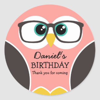 Owl Wearing Glasses Kids Birthday Party Stickers