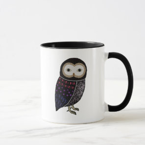 Owl Wildlife Bird Illustration Black Owl with Red Mug