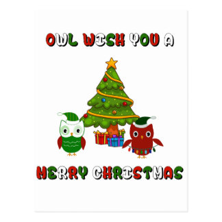 Owl Wish You A Merry Christmas Holiday Gifts Postcard