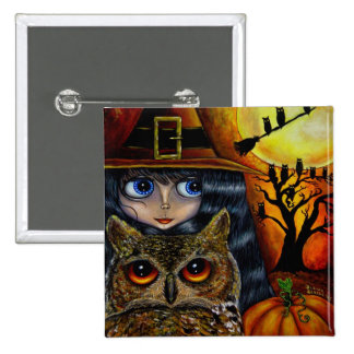 Owl Witch Halloween Button