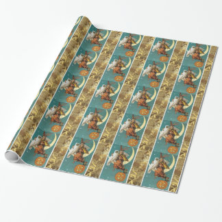 Owl Witch Moon Victorian Halloween Wrapping Paper