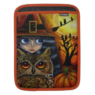 Owl Witch with Moon & Pumpkin Big Eye Doll iPad Sleeve
