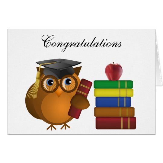 Owl with Books, Congratulations Greeting Card
