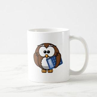 Owl with Calculator, math, student, accounting, Basic White Mug