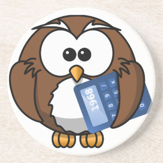 Owl with Calculator, math, student, accounting, Sandstone Coaster