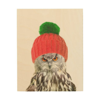 Owl with cap cute animal portrait wood print