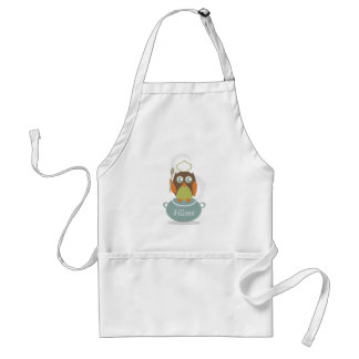 Owl With Chef's Hat & Spoon On Cooking Pot Standard Apron