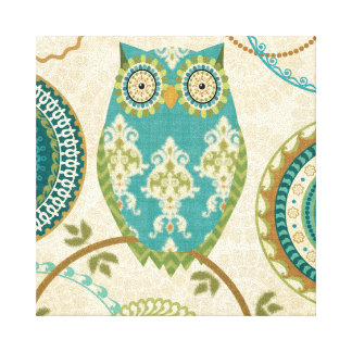 Owl with Circular Patterns Stretched Canvas Prints