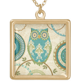 Owl with Circular Patterns Gold Plated Necklace
