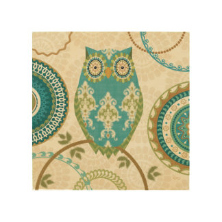 Owl with Circular Patterns Wood Print