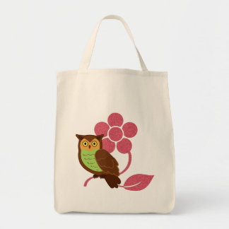 Owl with flower design grocery tote bag