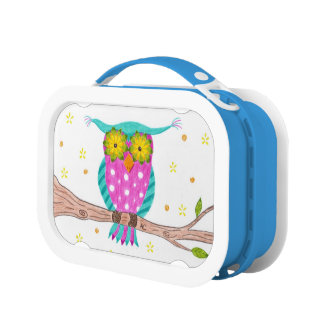 Owl with flowery eyes kid lunch box lunchboxes