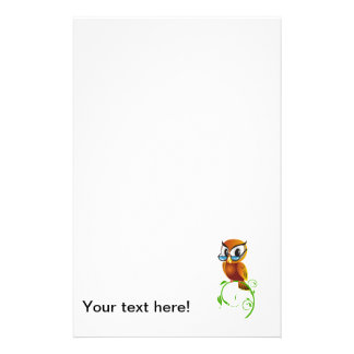 Owl with glasses cartoon stationery