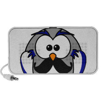 Owl with Handlebar Mustache Moustache Laptop Speakers