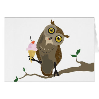 Owl with IceCream note cards