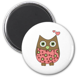 Owl WIth Love 6 Cm Round Magnet