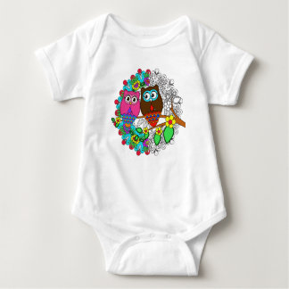 Owl with Mandalas floral Design, Baby bodysuit