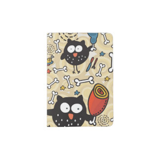 Owl with Meat Pattern Passport Holder
