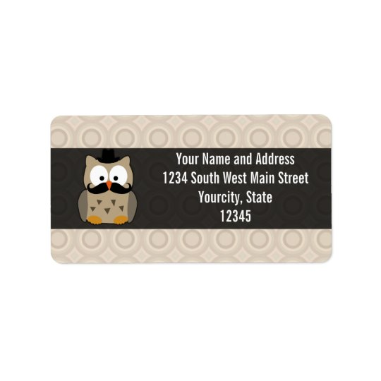 Owl with Moustache and Hat Address Label
