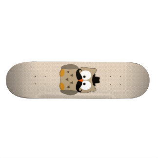 Owl with Moustache and Hat Skate Board Decks