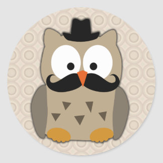 Owl with Moustache and Hat Sticker