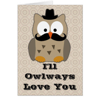 Owl with Moustache Valentine's Day Greeting Card