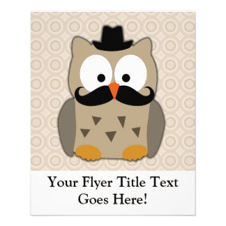 Owl with Mustache and Hat 11.5 Cm X 14 Cm Flyer