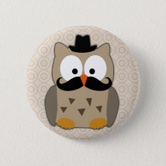 Owl with Mustache and Hat 6 Cm Round Badge