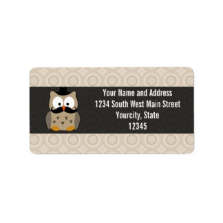 Owl with Mustache and Hat Address Label