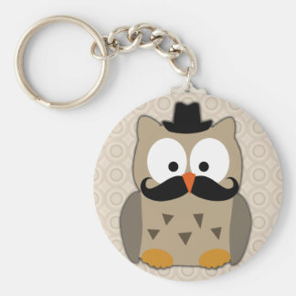 Owl with Mustache and Hat Basic Round Button Key Ring