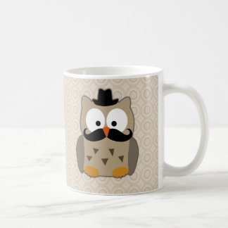 Owl with Mustache and Hat Basic White Mug
