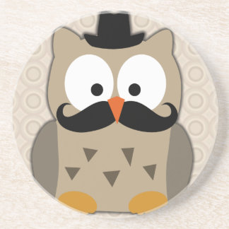 Owl with Mustache and Hat Beverage Coasters